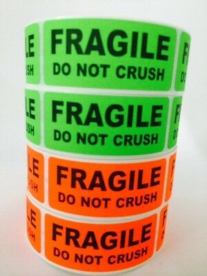 1000 1x3 FRAGILE DO NOT CRUSH  Labels Stickers NEON RED GREEN FLUORESCENT NEW