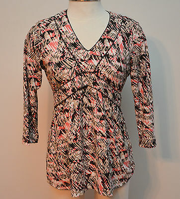 Ann Taylor Loft Maternity Top Size S Career Pink Brown 3/4 Sleeve