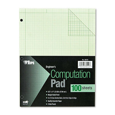Tops Engineering Computation Pad Grid to Edge 8 1/2 x 11 Green 100 Sheets 35510