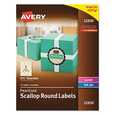 "Avery Round Print-to-the-Edge Labels w/Scalloped Edge 2 1/2"" dia Pearl Ivory 72"