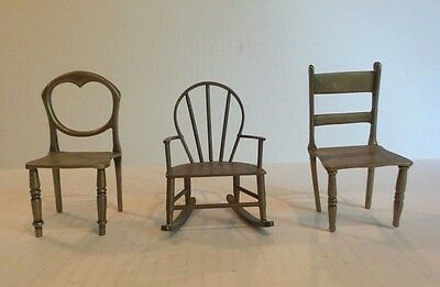 Group/3 Assorted Vintage/antique Miniature Brass Chairs