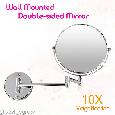 """10x Magnifying Wall Mounted Extend 2 Side 8"""" Bathroom Chrome Makup Shave Mirror"""