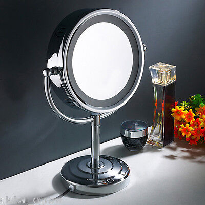"""8.5"""" LED Stand Double-sided Cosmetic Makeup Shave Bathroom Mirror 10x Magnifying"""