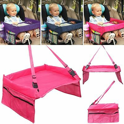 Kids Travel Play Tray Table Safety Belt Car Seat Waterproof Buggy Pushchair UK
