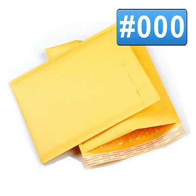 50 #000 4x8 Kraft Bubble Mailers Self Seal Padded Craft Envelopes Shipping bag