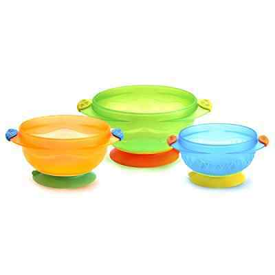 Baby Feeding Set Munchkin Stay Put Suction Bowl Pack Of 3  Cups Serving Dishes
