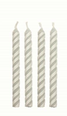 24 Medium White Striped Candles