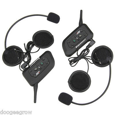 2x V6 1200M Bluetooth Intercomunicador Auriculares Interphone Interfono BT Moto
