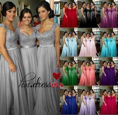 New Lace Chiffon Long Bridesmaid Formal Prom Party Ball Evening Dress Size 6-20