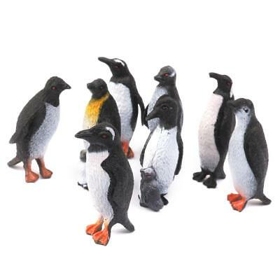 8Pcs Lot plastic Animal figure Toy Model Penguin Preschool Kids Favour