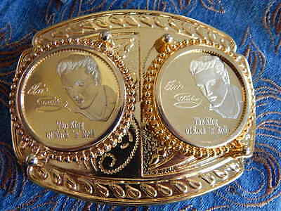 New Large Double Elvis Medallion Belt Buckle Gold Metal Music Rock N Roll