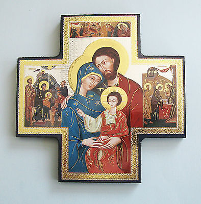 Icon Cross Wall Hanging Holy Family