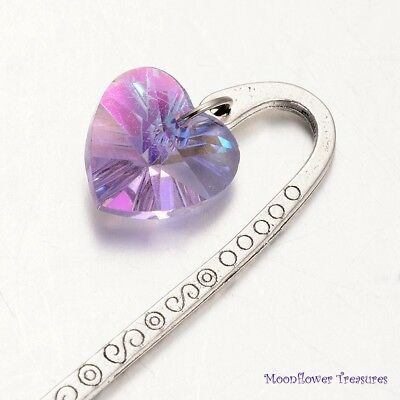 Antique Silver Mini Scroll Bookmark with Glass Heart Purple 85mm
