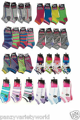 6 Pairs Ladies Trainer Socks Women Funky Designs Girls Liner Sports Adults 4-7