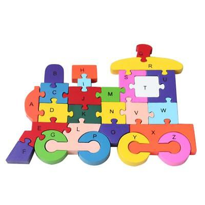 Wooden ABC Alphabet Numbers Jigsaw Locomotive Puzzle Kids Child Learning Toy