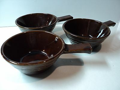Set of 3 Vintage Marcrest Stoneware USA, Brown Handle Soup Bowls