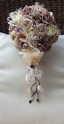 Ivory Cream Mocha Mink Roses Coffee Orchids Pearls Brides Bouquet Wedding