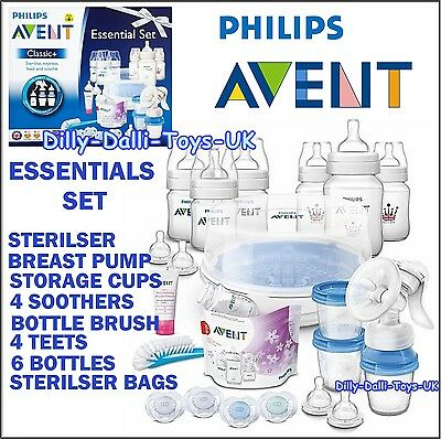 NEW Philips Avent Essential Set With Bottles Microwave Steriliser Breast Pump