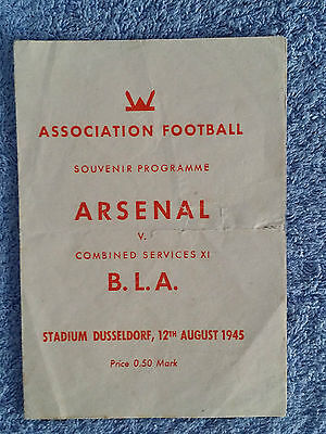 1945 - COMBINED SERVICES XI v ARSENAL PROGRAMME - Dusseldorf