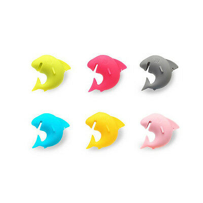 Cool 6pcs Silicone Mini Shark Shape Tea Bag Holders Cup Mug Identify Markers