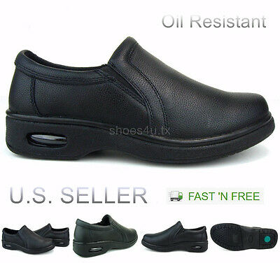 Men's Restaurant Oil Resistant Kitchen Work Shoes Loafer Slip-On Skid Non-Slip