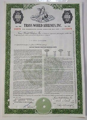 Trans World Airlines Bond Stock Certificate T.W.A