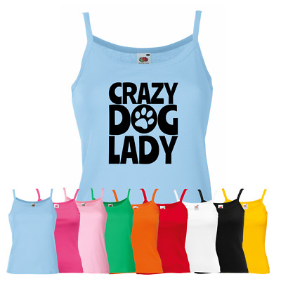 Ladies Crazy Dog Lady Vest - Cute Animal Lover Puppy Pup Doggie New Strap Top