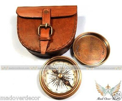 "2.3"" Antique Vintage Style Brass Pocket Compass W Leather Case Campaning Hiking"