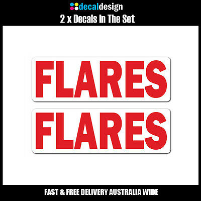 FLARES Decal x 3 boat safety stickers marine quality UV stabilised vinyl