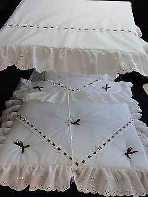 Pram Canopy and pram set  to fit Silver Cross pram in cream/brown