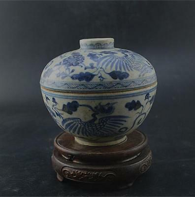 Chinese Ming Dynasty Hand Painting Blue crane Fig Tureen bowl