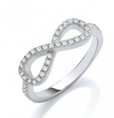 Rhodium Plated Solid 925 Hallmarked Silver Pave Set Infinity (Figure Of 8) Ring