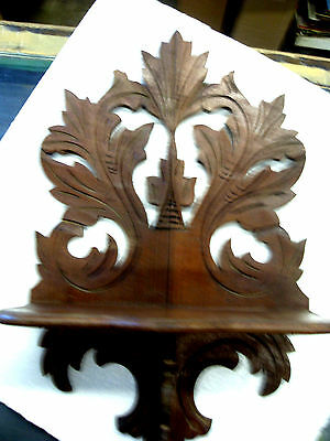 "Vintage Victorian Clock  Shelf Carved mahogany Wood Antique 12"" Wide"