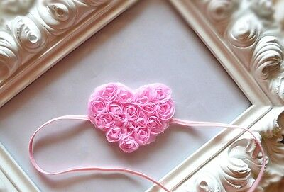 Gorgeous Baby Girls Pink Heart Lace Headband with Lace Roses