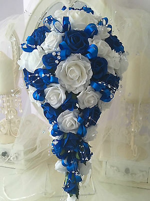 Wedding Flowers Brides Teardrop Bouquet in Royal Blue and White