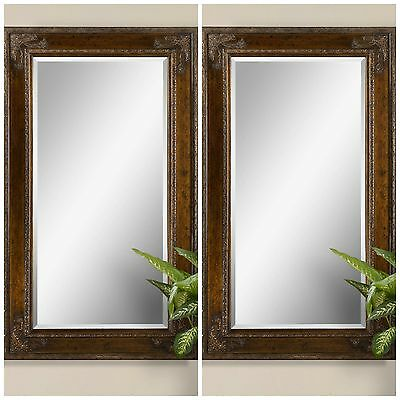 """Two New Large 73"""" Antiqued Finished Frame Beveled Modern Or Vintage Wall Mirror"""