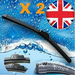 "2Edge Aero Front Window Windscreen Flat Car Wiper Blades 28"" 26"" Pair Upgrade"