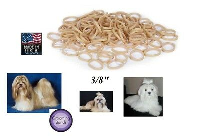 """LOT 500 Dog 3/8"""" Grooming Hair BANDS Rosin Coated Rubber Latex Top Knot Band"""
