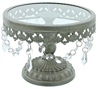 8 Inch Silver Shabby Chic Cake Stand