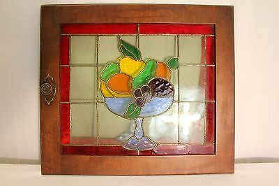 antique stained glass fruit bowl window