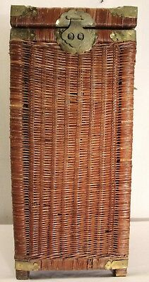 Antique long wicker lidded woven wood basket with brass accessories