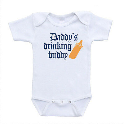 New Daddy's Drinking Buddy Cute Funny Baby Onesies Unisex Bodysuits One Piece