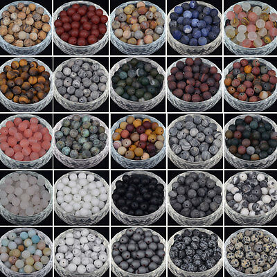 Matte Frosted Natural Gemstone Round Loose Stone Beads 4MM 6MM 8MM 10MM