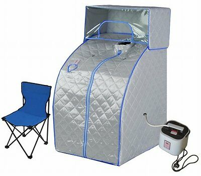NEW Stout Design Portable Steam & Beauty Sauna Tent with Cover Head - Blue/Grey