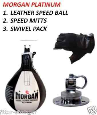 Morgan Platinum Leather 12'' Speedball Swivel Leather Mitts Gloves Set Pack New
