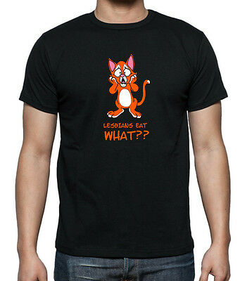 LESBIANS EAT WHAT???? Funny cat T-shirt . available up to 5XL
