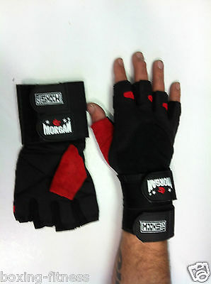MORGAN leather Weight Lifting Gloves gel palm strap wrap wrist S M L XL CROSSFIT