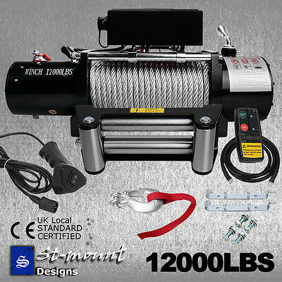 12000lb 12VOLT ELECTRIC WINCH WIRELESS REMOTE TRAILER 4x4 TRUCK BOAT ATV SUV CAR