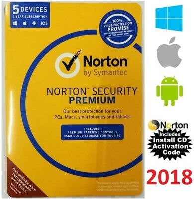 Norton SECURITY PREMIUM 2018 5Devices AntiVirus Windows Mac Android CD INCLUDED