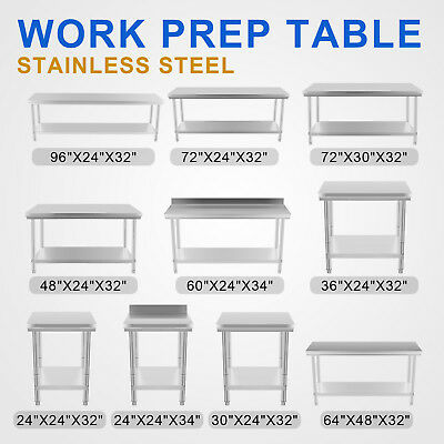 All Size Commercial Stainless Steel Kitchen Work Bench Food Prep Table Top
